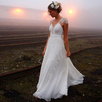 Romantic A-line Lace Wedding Dresses 2016 Sexy Backless Beach vestido de noiva Plus Size Boho Bridal Gowns Custom Made