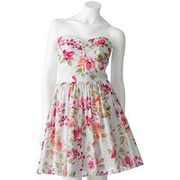 Speechless Floral Eyelet Strapless Fit and Flare Dress - Juniors