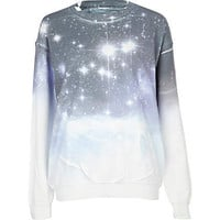 blue cosmic print sweat top