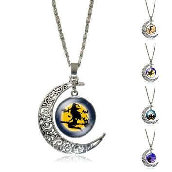 Moon & Glass Galaxy Statement Necklaces Silver Chain Pendants