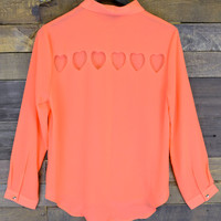 Coral Springs Orange Open Heart Blouse