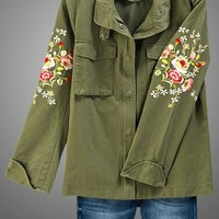 Army Green Jacket w/ Floral Embroidery