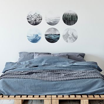 """Forest Ocean Mountains Watercolor Art Decals Six 12"""" Round Fabric Wall Stickers"""