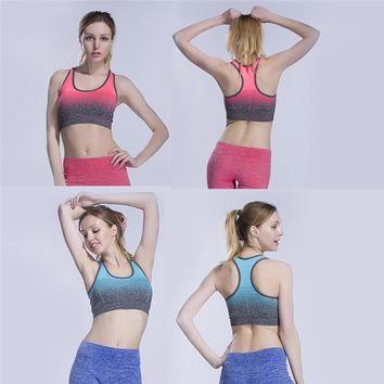 Women Female Sport Cycling Vest Tops Wire Free Padded Tank Seamless Gradient Color Tops Bra Clothing Sleeveless Vest Sports C3