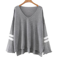 V Neck Loose Fit Sweater with Stripe Detail