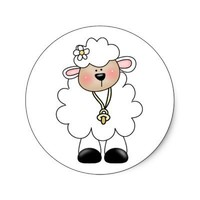 White Lamb Round Stickers from Zazzle.com