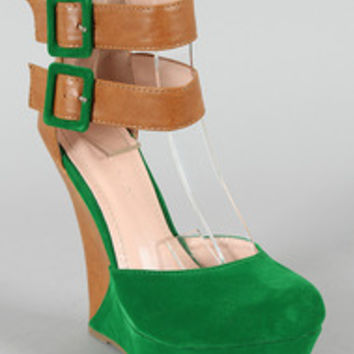 Liliana Monaco-2 Two Tone Ankle Strap Platform Wedge