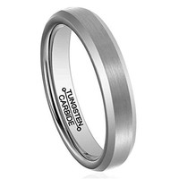 Men 4mm Silver Tungsten Carbide Ring Simple Fashion Wedding Engagement Band Matte Finish Domed ComfortFi (Platinum)