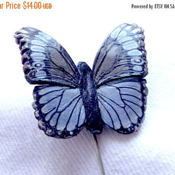 ON SALE Handmade and Hand Painted Butterfly Hat Pin, Leather Hat Pin, Costume Jewelry, Hand Painted Jewelry, Handmade Jewelry