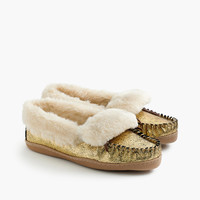 Women'S Crackled Metallic Suede Lodge Moccasins : Women's Slippers | J.Crew
