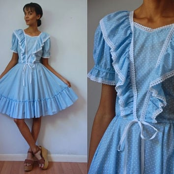 Vtg Dotted Baby Blue White Ruffled SS Waist Tie Square Dance Dress