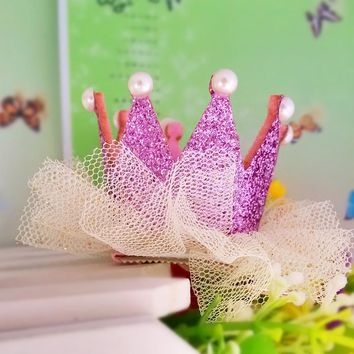 M MISM New Arrival Girls Yarn Hair Accessories Pearls Crown Shaped Fabric Hairpins BB Christmas Dancing Party Princess Hair Clip