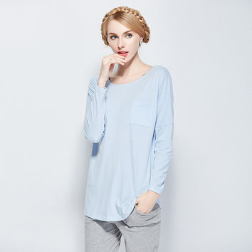 Ladies Sleepwear Bottom & Top Summer Casual Cotton Long Sleeve Home Set [4918266628]
