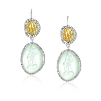 Sterling Silver Glass Cameo and Citrine Earrings with Diamonds