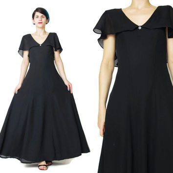 1930's Style Black Evening Gown Draped Chiffon Cape Dress Long Black Evening Dress Cocktail Formal Dress Semi Sheer Maxi Party Dress (XS/S)