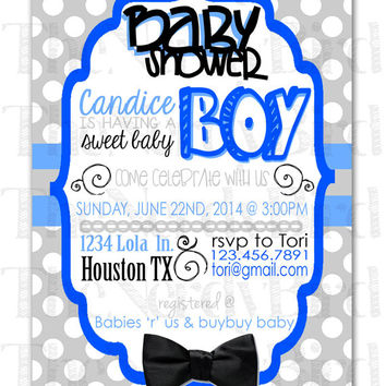 Black and White Striped Printable Baby Shower Invitation