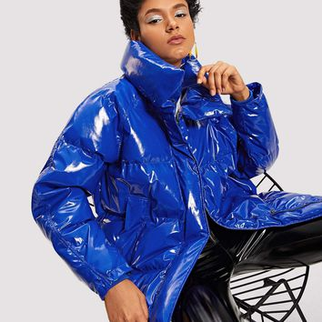 Blue Faux Patent Puffer Coat