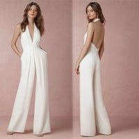 2017 Summer Loose Women Sleeveless Jumpsuits Sexy V-neck Backless Halter Romper Bodycon Lady White Jumpsuits long pant Jumpsuit