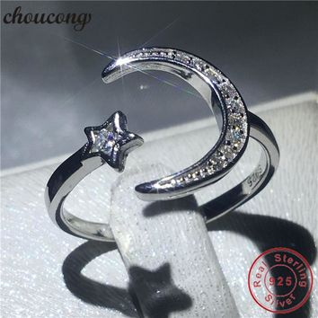 choucong Moon Star Jewelry 100% Real Soild 925 sterling Silver ring AAAAA Zircon Engagement Wedding Band Rings For Women men