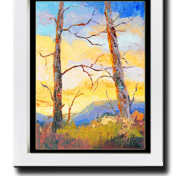 "Impressionist oil painting, palette knife Trees against a Sunset Painting, Provence Landscape Knife painting, Oil, 6x8"", by Marion Hedger"