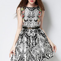 Black and White Vintage Paisley Print Skater Dress