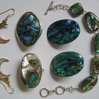 Wonderful Iridescent Colors ABALONE SEA SHELL 925 Silver Gold Plated Jewelry Accessories Bracelet Brooch 2Pairs of Earrings&Trinket Pill Box