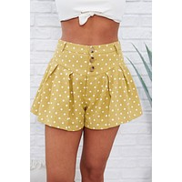 Had Your Chance Polka Dot Shorts (Light Mustard/Cream)