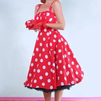 Lucy Red and White Polka Dot Dress