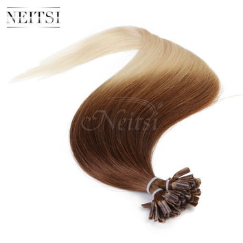 Neitsi Ombre Indian Remy Virgin Hair Extensions Nail U Tip Keratin Human Hair Straight 1g/s 50s 100s T6/60# Blonde Beauty Hair