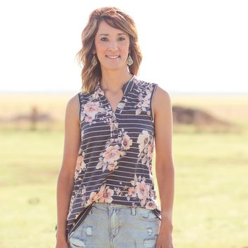 Carrollton Charcoal Striped Floral Sleeveless Top