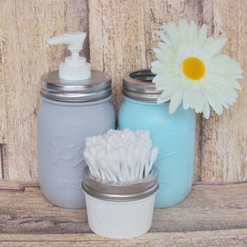 Gray, Blue and White Mason Jar Bathroom Storage Set and Soap Dispenser, Shabby Chic Mason Jar Decor, Storage Jars, Lotion Dispenser