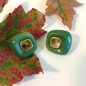 Green Lucite Geometric Earrings Crown Trifari Gold and Green Square Clip On Earrings Vintage 1960s Resin Art Deco Jewelry Faux Jade Earrings