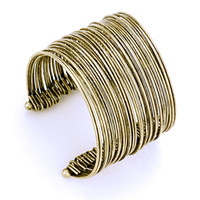 Boho Chic Wide Wire Metal Cuff Bracelet