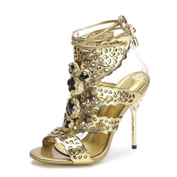Rhinestone Party Sandals Strappy Sexy Gold Heels Sandals Luxury Brand Women Shoes Party Sandals Silver Sandals Summer Shoes
