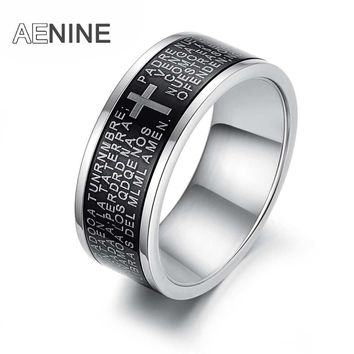 AENINE Trendy Stainless Steel Black Spanish Bible Lord Prayer Cross Ring For Men White Gold Color Boy Rings Drop Shipping OGJ279