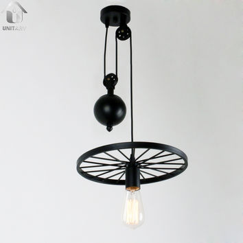Black Vintage  Metal Wheel Hanging Ceiling Pulley Pendant Lighting