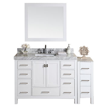 """60"""" Malibu White Single Modern Bathroom Vanity with Side Cabinet and White Marble Top with Undermount Sink"""