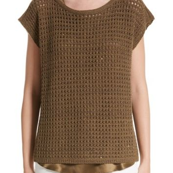 Lafayette 148 New York Cashmere Open Stitch Sequin Sweater | Nordstrom