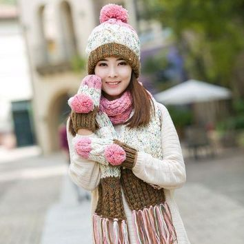 CREYCI7 Knitted hat scarf gloves three pieces set one piece color block decoration muffler scarf girls winter birthday christmas gift