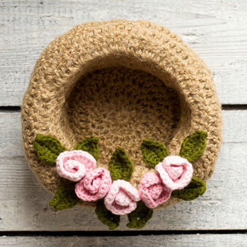 Shabby Chic Jute Basket, Handmade Natural Bowl, Jewelry Storage Box, Rustic Home Decor, French Country Kitchen