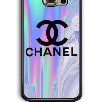 Samsung Galaxy S6 Edge Case - Hard (PC) Cover with Coco Chanel Holographic Plastic Case Design
