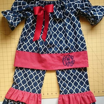 Girl's infants toddler-monogrammed pants suit-peasant top with matching double ruffle pants-navy blue and red