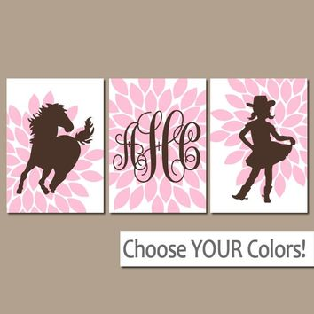 COWGIRL Wall Art, Girl HORSE Bedroom Pictures, Baby Girl Nursery Decor, CANVAS or Prints Girl, Horse Theme Birthday Gift, Flowers Set of 3