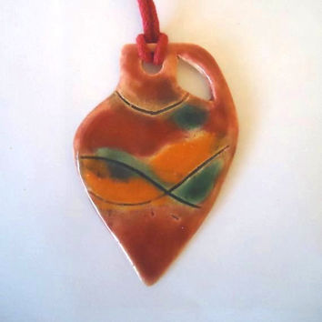 Handmade clay pendant.  Greek oil jar shape.  Ceramic. Multicolored: pink, orange, green. FREE SHIPPING!