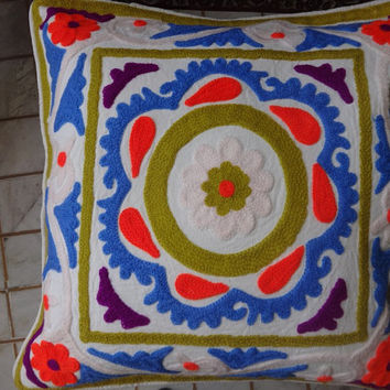 Suzani Cotton Cushion Cover, Embroidered Pillow Cover, Traditional Outdoor Cushion cover, Multi Color Theme, 18 x 18 Inches