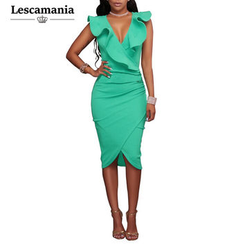 Lescamania Summer Women Fashion Brief Sexy Work Pencil Dress Sleeveless Ruffles Solid Mini Butterfly Sleeve Dresses Vestidos