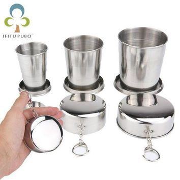 DCCK7N3 1Pc Stainless Steel Folding Cup Travel Tool Kit Survival EDC Gear Outdoor Sports Mug Portable for Camping Hiking Sport GYH