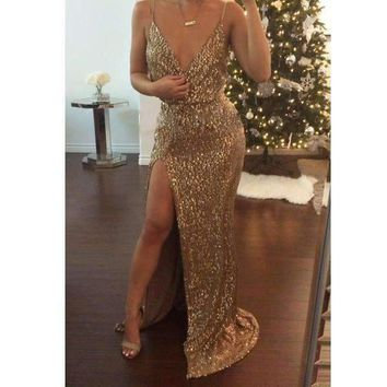 New Sequins Gold High Slit Women Sexy Party Maxi Dress