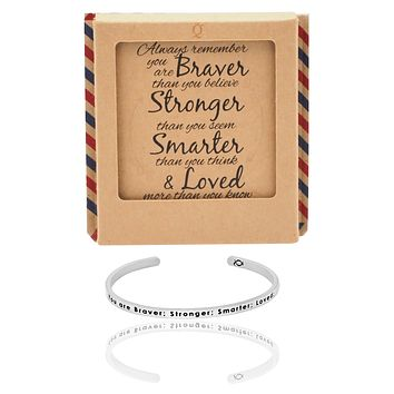 Bobby Brave Warrior Cuff Bracelet, Silver Tone, comes with an Inspirational Quote