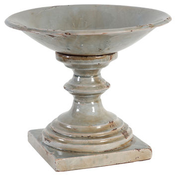 "12"" Rustic Pedestal Bowl, Gray, Decorative Bowls & Centerpieces"